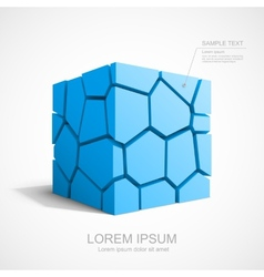 Cracked blue cube vector image vector image