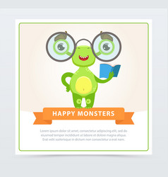 cute funny green monster with glasses and book vector image vector image