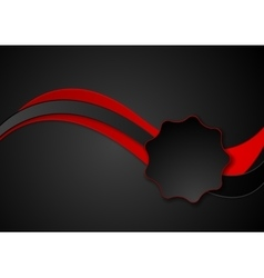 Dark abstract red black wavy corporate design vector
