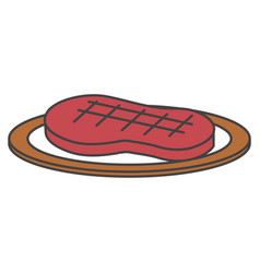 Dish with cut beef meat icon vector