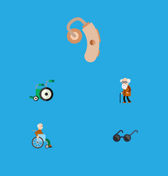 Flat icon cripple set of handicapped man vector