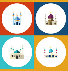 flat icon mosque set of architecture structure vector image