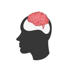 head silhouette profile and brain icon vector image vector image
