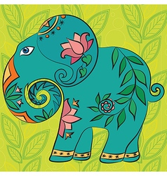 Indian elephant with pattern and texture vector