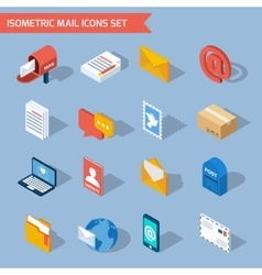 Isometric mail icons vector