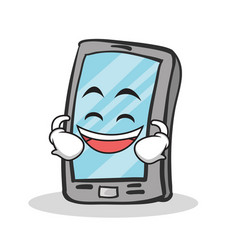 Laughing face smartphone cartoon character vector