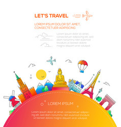 Lets travel - flat design travel composition vector