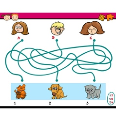 maze paths task for kids vector image vector image