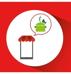 Mobile phone shopping organic food eat healthy vector