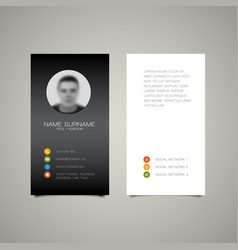 modern simple dark business card template vector image vector image