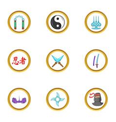 Ninja weapons icon set cartoon style vector