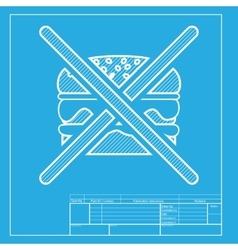 No burger sign White section of icon on blueprint vector image vector image