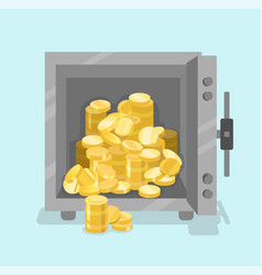 Opened safe with coins in front view flat style vector