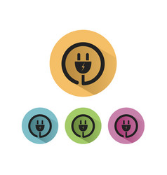 plug icon with shadow on colored circles vector image vector image