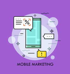 smartphone with advertisements on screen and vector image vector image