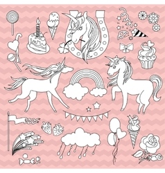 White unicorns with a black outline on pink vector image vector image
