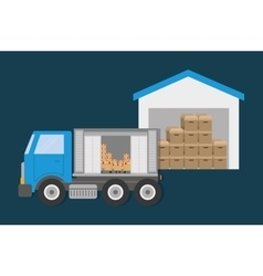 Box truck delivery shipping icon graphic vector
