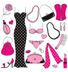 Ladies fashion set vector