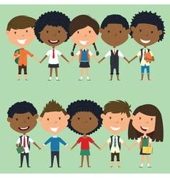 Multiracial school boys and girls vector image