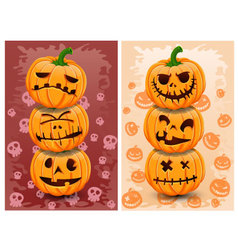 Halloween pumpkins and background set 3 vector image