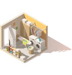 Isometric low poly laundry room icon vector