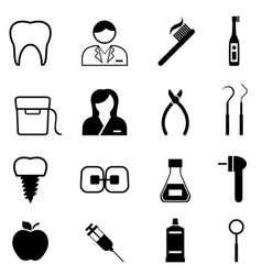 Dental health and dentist icons vector