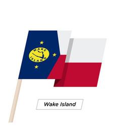 Wake island ribbon waving flag isolated on white vector