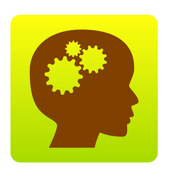 Thinking head sign  brown icon at green vector