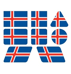 Buttons with flag of iceland vector