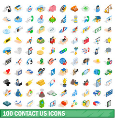 100 contact us icons set isometric 3d style vector image