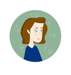 Woman cartoon portrait representing capricorn vector