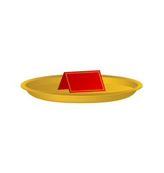 golden plate with blank paper card vector image