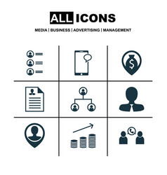 set of 9 human resources icons includes money vector image
