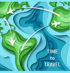 Time to travel- travel concept background vector