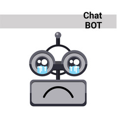 Cartoon robot face cry emotion chat bot icon vector