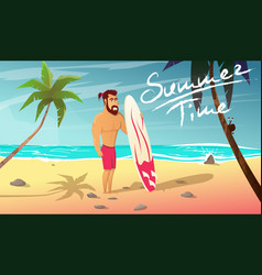 Surfer with surfing board stands on beach vector
