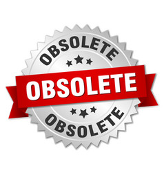 Obsolete round isolated silver badge vector
