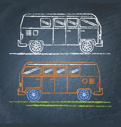 retro minivan sketch on chalkboard vector image