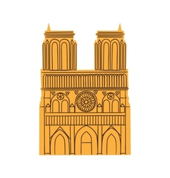 Notre dame de paris cathedral isolated on white vector