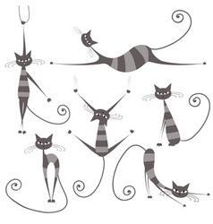 Grey striped cats vector