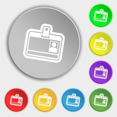 Id card icon sign symbol on eight flat buttons vector