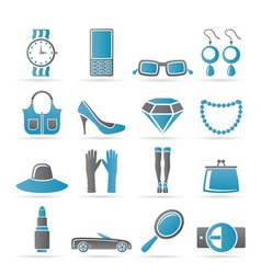 Female accessories icons vector