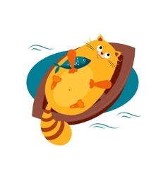 Cat on a boat hugging fish vector
