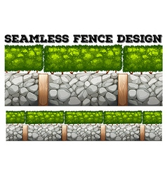 Seamless fence design with tree and stones vector
