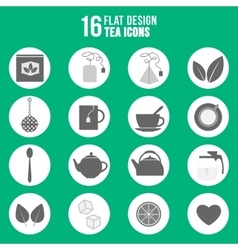 Flat design tea icons set vector