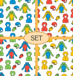 Set of seamless pattern with equipment for vector