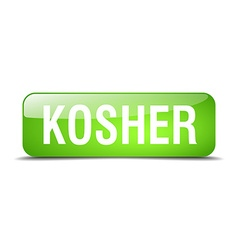 Kosher green square 3d realistic isolated web vector