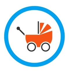 Baby carriage rounded icon vector