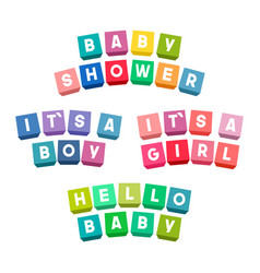 Baby shower lettering on colorful toy bricks vector