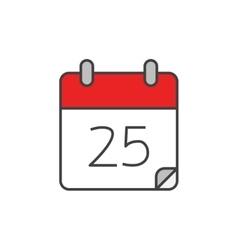 Calendar flat line icon vector image